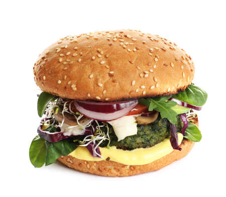 Tasty vegetarian burger with spinach cutlet on white background