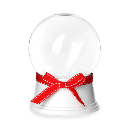 Magical empty snow globe with red bow isolated on white