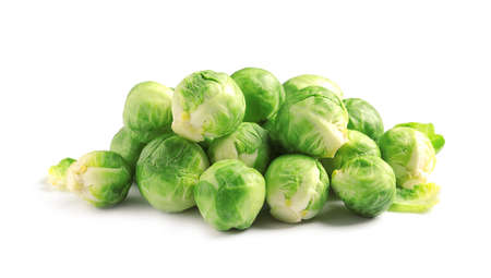 Pile of fresh Brussels sprouts on white background Stock Photo