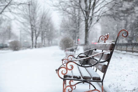Bench covered with fresh snow on storm day in city park. Space for text