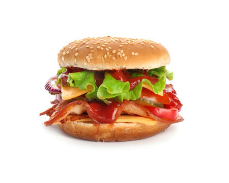 Tasty burger with bacon on white background