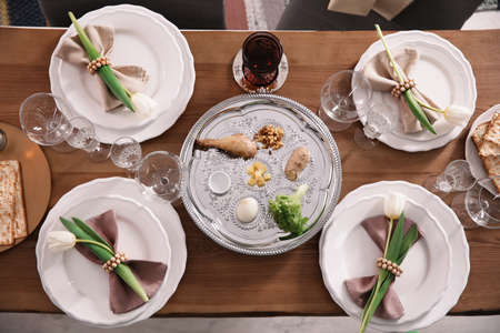 Festive Passover table setting, top view. Pesach celebration