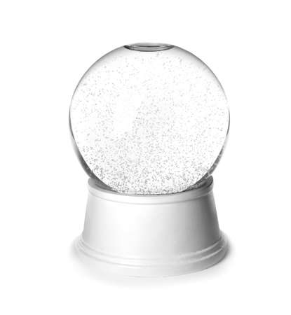 Magical empty snow globe isolated on white background