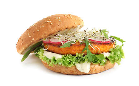Tasty vegetarian burger with carrot cutlet on white background