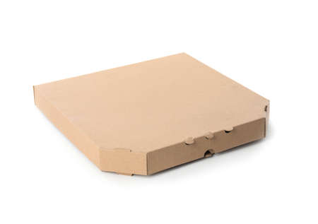 Pizza box isolated on white, mockup for design. Food delivery