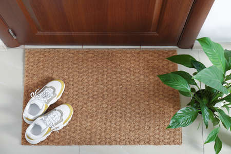 New clean mat with shoes near entrance door and houseplant, top view 免版税图像