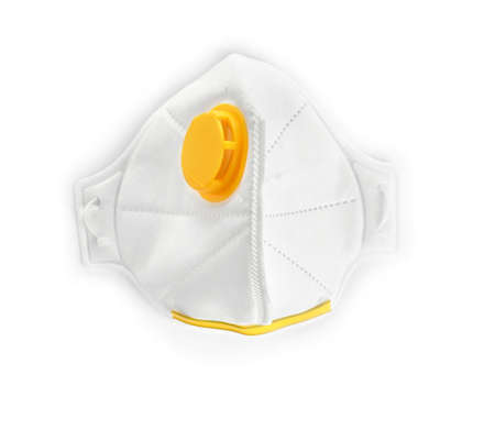 Respirator mask on white background, top view. Construction tools