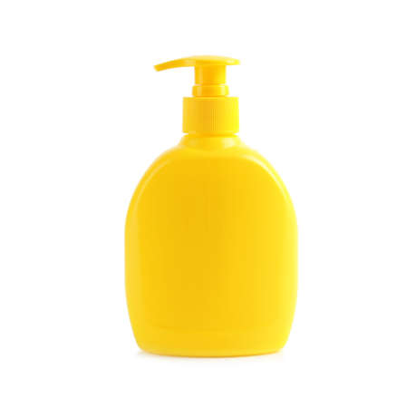 Bottle with sun protection body cream on white background