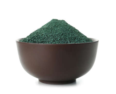 Bowl with spirulina algae powder on white background Reklamní fotografie