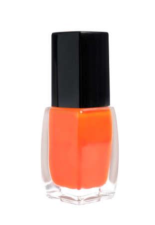 Bottle of nail polish on white background