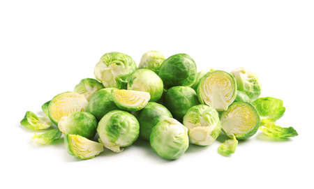 Pile of fresh Brussels sprouts on white background Stock fotó
