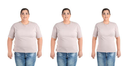 Overweight woman before and after weight loss on white background 版權商用圖片