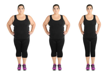 Overweight woman before and after weight loss on white background Stock Photo