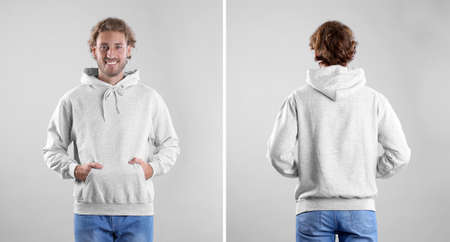 Man in blank hoodie sweater on light background, front and back views.  Mock up for desing