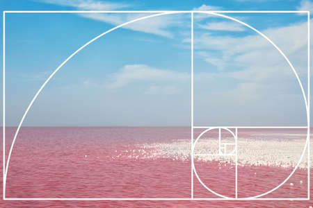 Fibonacci spiral and pink lake. Golden ratio concept