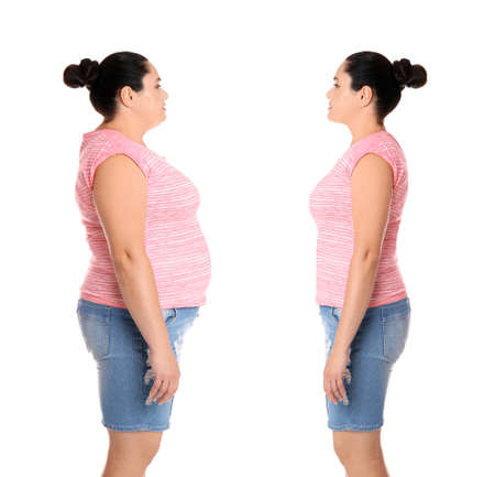 Overweight woman before and after weight loss on white background Archivio Fotografico