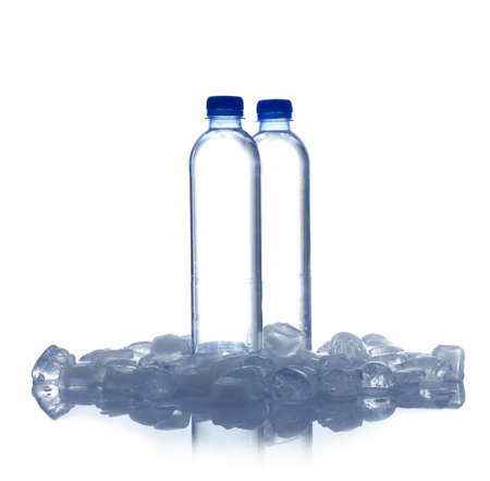Bottles of water and ice cubes on white background 免版税图像