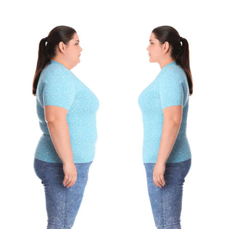 Overweight woman before and after weight loss on white background 스톡 콘텐츠
