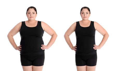 Overweight woman before and after weight loss on white background Standard-Bild