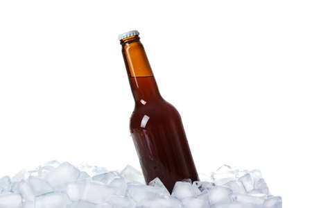 Bottle of beer on ice cubes against white background