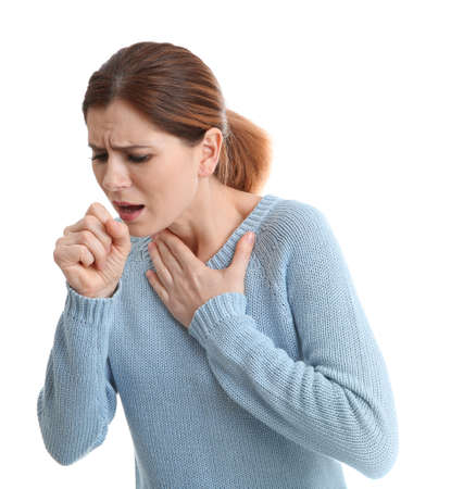 Woman suffering from cough isolated on white 스톡 콘텐츠