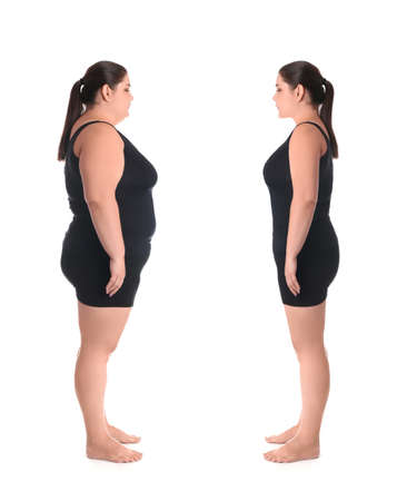 Overweight woman before and after weight loss on white background Banque d'images