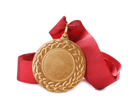 Gold medal with space for design on white background. Victory concept