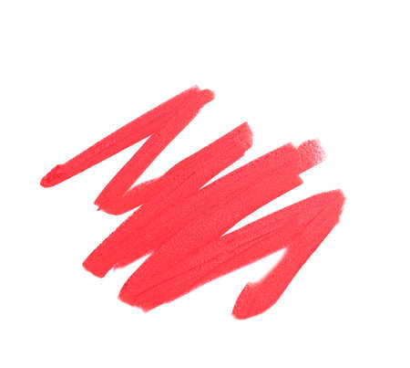 Stroke of lipstick on white background, top view Stock Photo