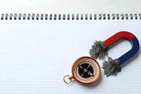 Compass and magnet with iron powder on notebook, top view. Space for text