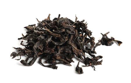 Heap of Da Hong Pao Oolong tea on white background
