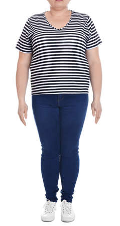 Overweight woman on white background, closeup. Weight loss Imagens