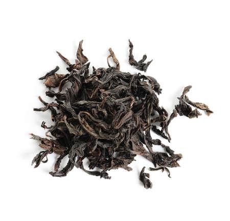Heap of Da Hong Pao Oolong tea on white background, top view Фото со стока