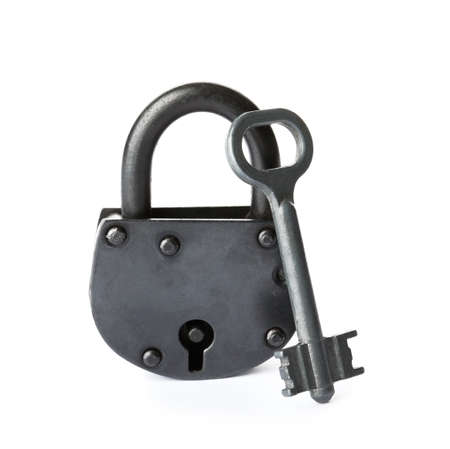 Key and vintage padlock on white background