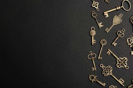Flat lay composition with bronze vintage ornate keys on dark background, space for text Reklamní fotografie