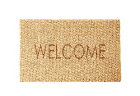 New clean door mat with text WELCOME on white background, top view Stockfoto