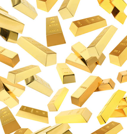 Flying shiny gold bars on white background Archivio Fotografico