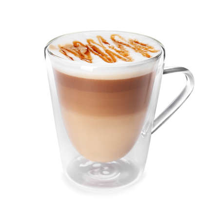 Glass cup with caramel macchiato on white background