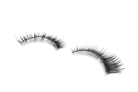 Beautiful pair of false eyelashes on white background Banco de Imagens