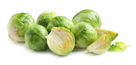 Fresh tasty Brussels sprouts on white background