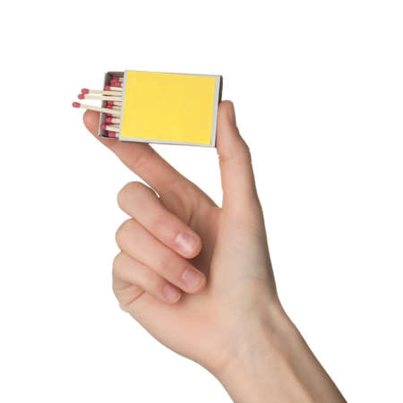 Woman holding box with matches on white background, closeup. Mockup for design