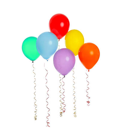 Many colorful balloons floating on white background