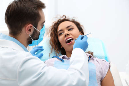 Dentist examining African-American woman's teeth with probe in hospital Stok Fotoğraf