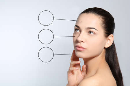 Portrait of young woman after cosmetic surgery on light background. Skincare concept