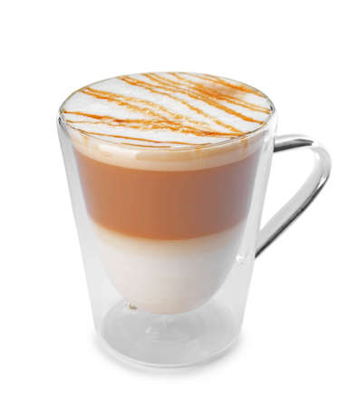 Glass cup of tasty caramel macchiato on white background