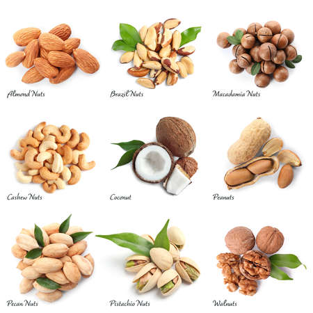 Set of different delicious organic nuts on white background, top view Stock Photo