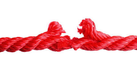 Rupture of red climbing rope on white background 写真素材