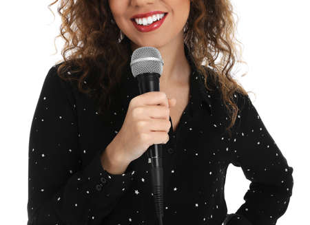Curly African-American woman holding microphone on white background, closeup view