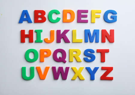 Plastic magnetic letters isolated on white, top view. Alphabetical order 版權商用圖片 - 118223444