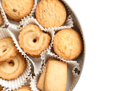 Box with Danish butter cookies on white background, top view