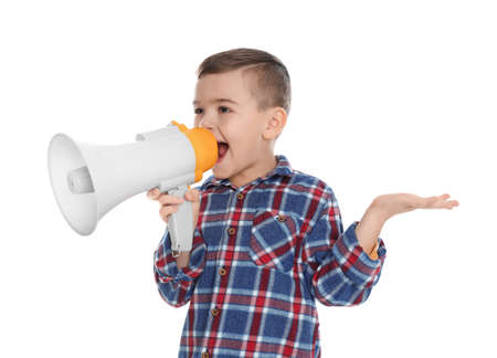 Cute funny boy with megaphone on white background